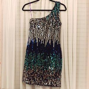 As U Wish Dresses & Skirts - Multi Color One Shoulder Sequin Dress