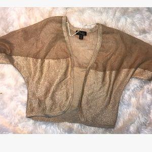 Thalia Sodi Sweaters - Thalia Sodi Gold Metallic Shrug Mesh Panel