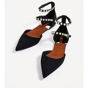 Zara Black Ballet Flats with Pearls