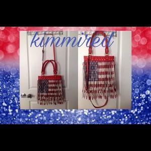 ⤵️🆕 Large Red/White/Blue Americana Fringed Purse