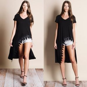 High Low Crochet Hem Maxi Top (BLACK)