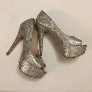 Aldo Nean Silver Peep Toe Platform Heel