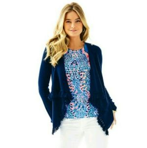 NWT Lilly Pulitzer Avenue Cashmere Sweater Navy