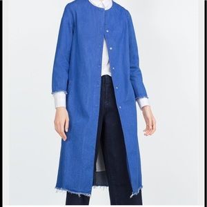 Zara trafaluc denim long overcoat jeans blue new