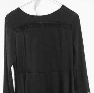 Acevog Dresses & Skirts - Women's Elegant Long Sleeve Sheer Mesh Panel Flare