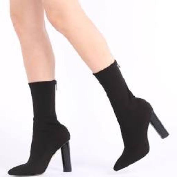 Black Cayden Heeled Sock Boots