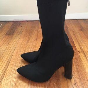 Public Desire Black Cayden Heeled Sock Boots