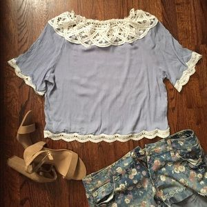 Off the shoulder Soft Blue Top 