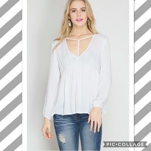 NEW White Choker long sleeve peasant top Boutique