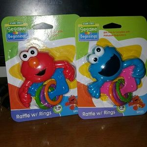 Other - 2 cute rattles with rings sesame Street