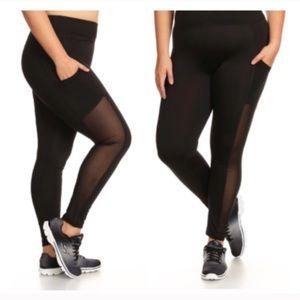 Pants - (Plus) Black mesh panel athletic pants