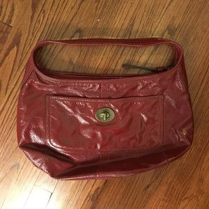 Coach Red Crinkle Patent Leather Hobo Bag