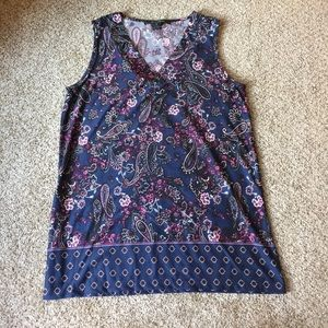 89th & Madison Tops - Navy and fink design sleeveless blouse, size M