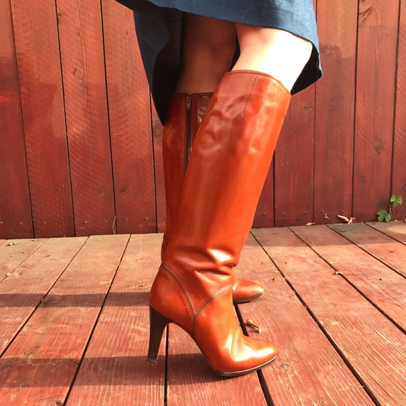 c011e90a400a3 Vintage 80s Japanese Hazelnut Brown Leather Boots