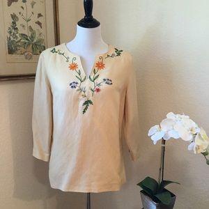 Donna Morgan Tops - DONNA MORGAN Cream Linen Floral Embroidered Blouse