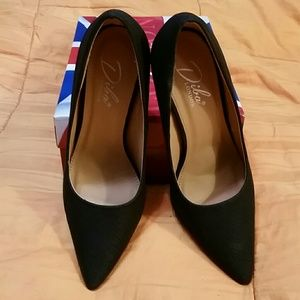 Diba London Black suede snake pattern pumps