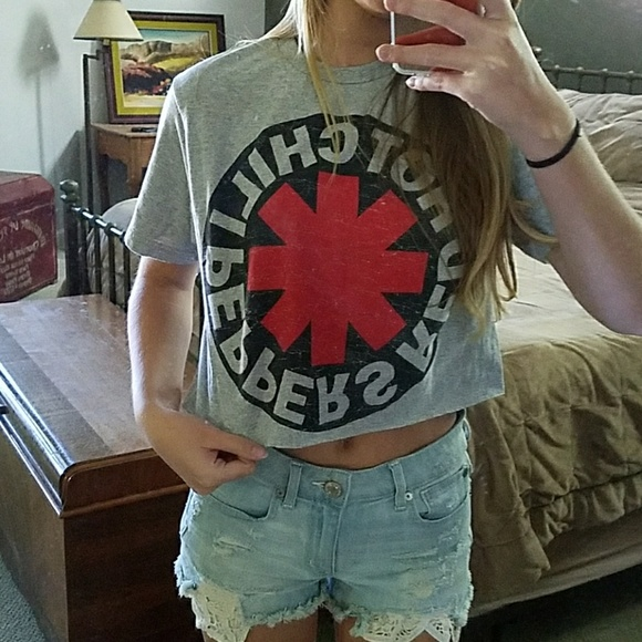 17203ed83 Forever 21 Tops   Red Hot Chili Peppers Cropped Gray Tee   Poshmark