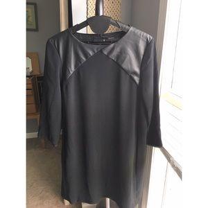 Zara black faux leather shift dress