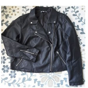 Jackets & Blazers - PLUS▪Faux Leather Cropped Motto Jacket