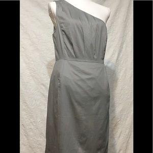 J Crew Pleated One-Shoulder Tan Cotton Dress Sz 10