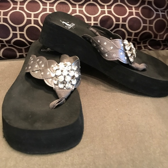 708d52c5fd50 Corkys Shoes - silver Embellished braided wedge flip flops