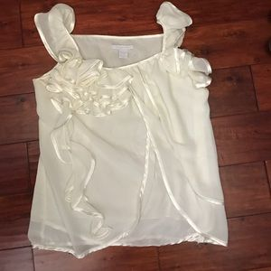 Tops - Ivory multi layer sheer top with amazing detail