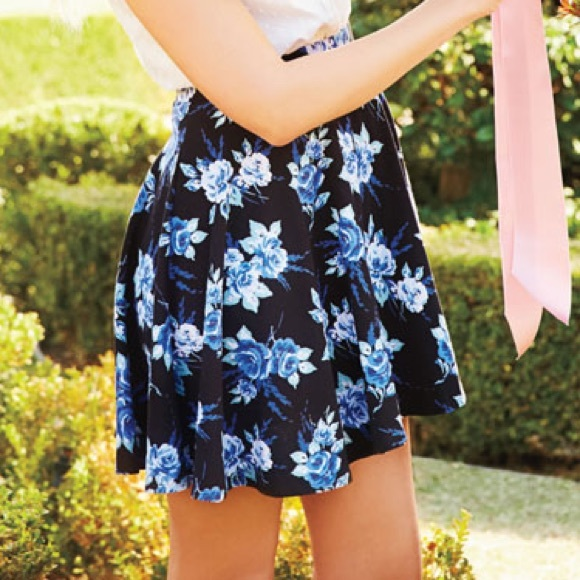 LC Lauren Conrad Dresses & Skirts - LC Lauren Conrad Blue Floral Skirt