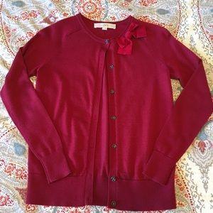 LOFT red bow cardigan size XXS Petite