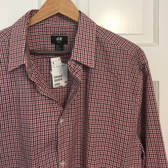 db3466a44eda H&M Shirts | Mens Red Black Checked Dress Shirt | Poshmark