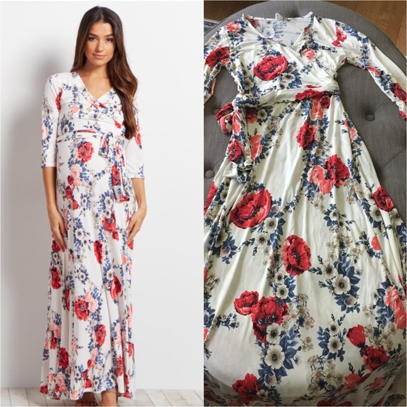 5d26c913f9eac PINKBLUSH MATERNITY WHITE GARDEN WRAP MAXI DRESS. M_594ea196ea3f36efc6012c42