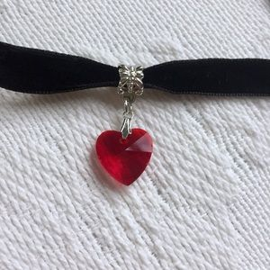 Red Crystal Heart Choker