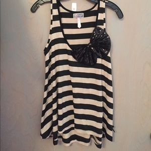 Lipsy London Tops - Lipsy Striped Tank with Sequin Bow