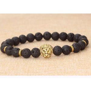 Jewelry - Black & Gold stretchy bracelet lion head moon ball