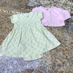Carter's Other - Pastel Green 2 piece bodysuit dress