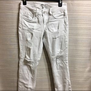 Dollhouse white cropped ripped skinny jeans