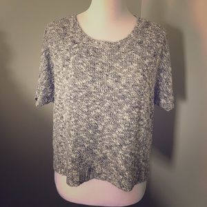 VINCE Marled Grey Cropped Sweater