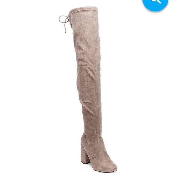 0b290c6381a Steve Madden Norri Taupe Thigh High Heeled Boots. M 594eb1f38f0fc443c8015f23