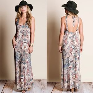 🚨LAST🚨DAPHNE Print Open back Maxi Dress -CREAM