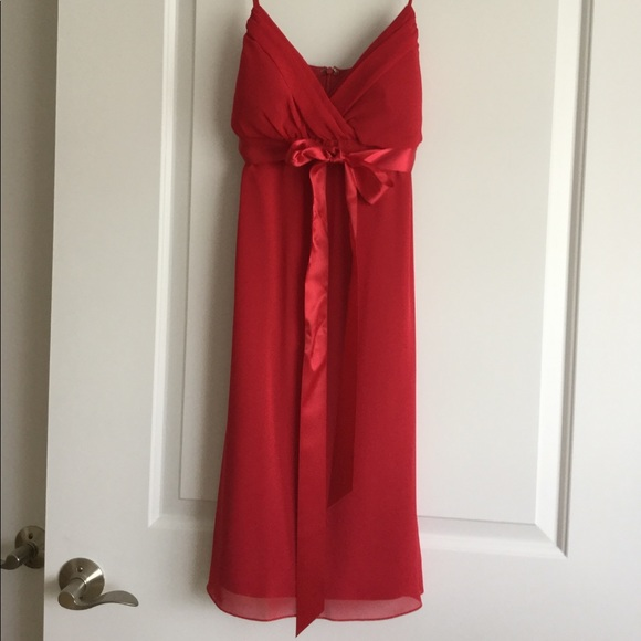 114972853044 B Moss Dresses | Cherry Red Cocktail Dress With Bow Detail | Poshmark
