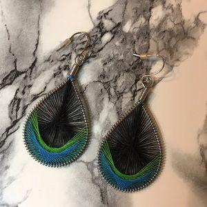 Jewelry - Black Blue Green Woven Earrings