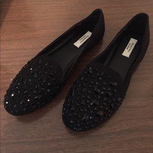 Simply Vera Vera Wang Shoes - Black Smoking Flats With Black Gemstone Accents