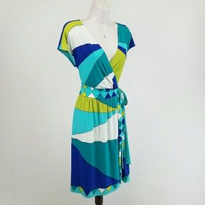 Donna Morgan Dresses & Skirts - Donna Morgan jersey wrap dress: blue, green