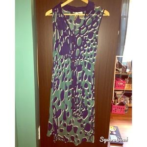 Blue and green patterned high-low dress