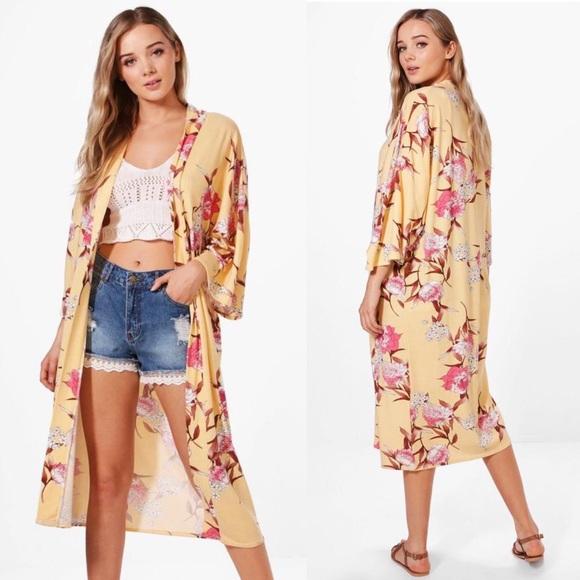 883e745a5f Boohoo Tops | Nwt Floral Print Kimono | Poshmark