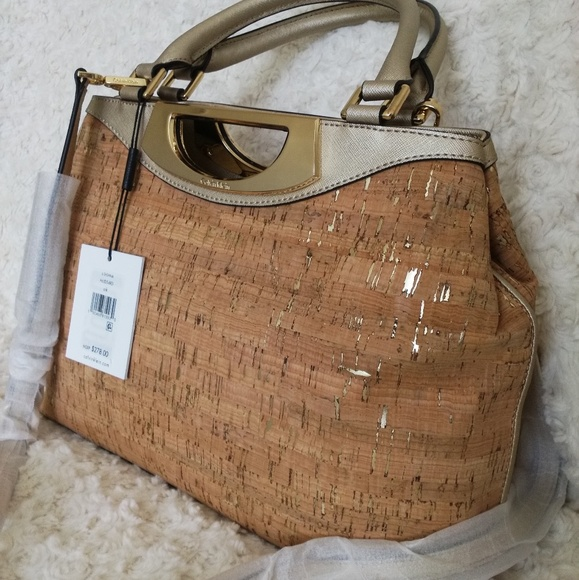 5915ac16101 Calvin Klein Bags | Metallictrim Cork Satchel Make Offer | Poshmark