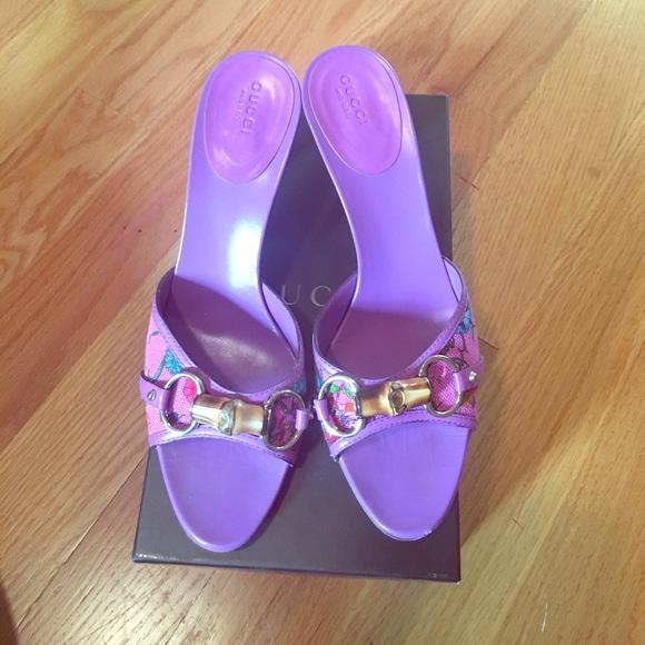 81fd1b5e3df8 Gucci Shoes - Purple floral Gucci slides