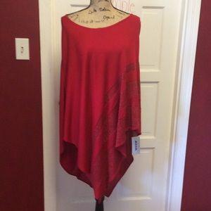 Alia Sweaters - NWT asymmetrical red alert poncho
