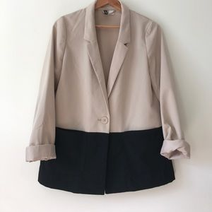Color Block Blazer, unlined with bucket pockets