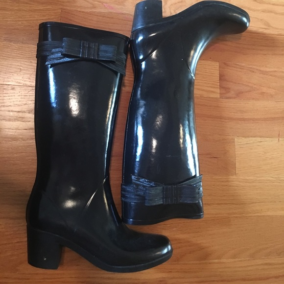 Kate Spade tall black rain boots with Bow