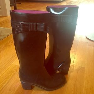 kate spade Shoes - Kate Spade tall black rain boots with Bow